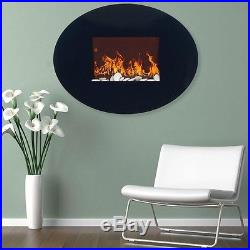 Wall Mount Electric Fireplace Round Oval Glass Modern Remote Control Heater Fire