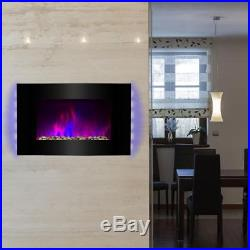 Wall Mounted Electric Fireplace 36' Heater Black Tempered Glass Remote Control