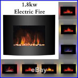 Wall Mounted Glass Electric Fireplace Fire Heater Remote Control LED Backlit