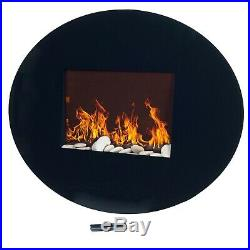 Wall Mounted Oval Shaped Electric LED Light Fireplace with Remote 33.5 In. W