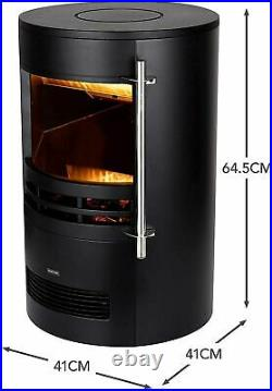 Warmlite WL46022 Elmswell Electric Curved Contemporary Freestanding Stove Fire