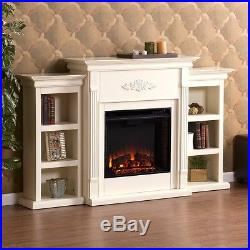 White Electric Fireplace Media Center Bookcase 70 TV Stand Wood Mantle Heater