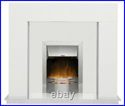 White Marble Surround Silver Electric Fire Pebbles 40, 42 in, 48 in, 54 in Wide