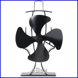 Wood Stove Eco Fan Heat Powered Ultra Quiet Fireplace Blower Fan Black compact